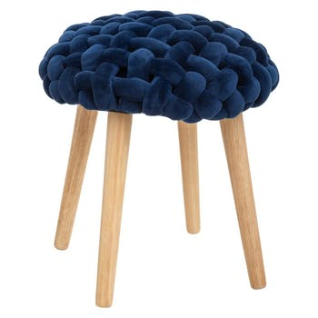 Tabouret rond avec assise en tricot bleu foncé