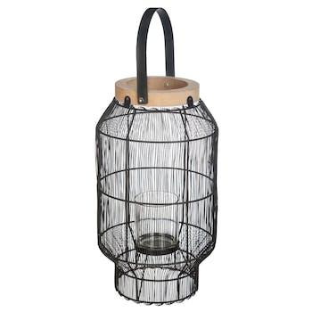 Lanterne filaire en métal noir 31,5 cm