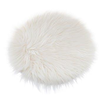 Galette de chaise ronde à poils longs ivoire D32 cm
