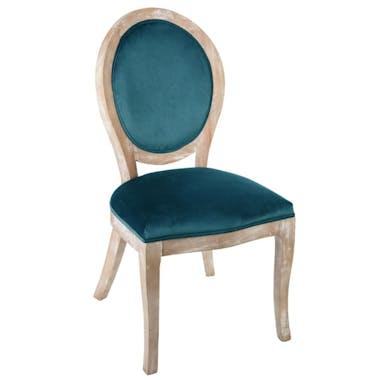 Chaise Médaillon en velours bleu canard