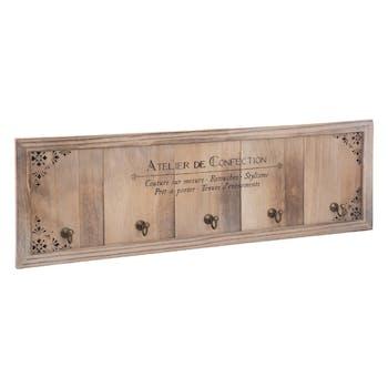 Patère en bois 5 crochets 58 cm