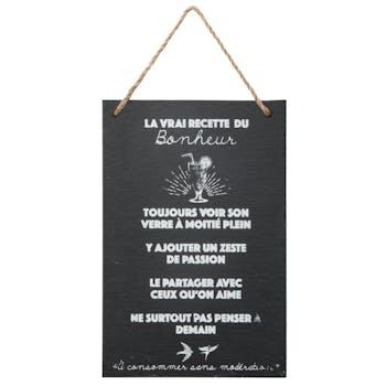 """Ardoise murale """"Recette du bonheur"""" 30 cm"""