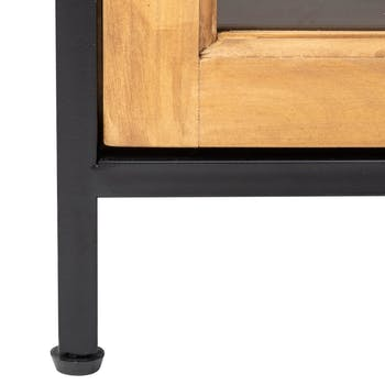 Vitrine en bois et métal noir 2 portes 186,5 cm