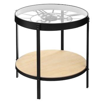 Table d'appoint plateau verre horloge