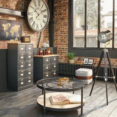 Petite commode 6 tiroirs en métal noir et plateau bois