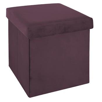 Pouf coffre pliable en velours violet