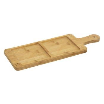 Planche apéritif bambou 2 compartiments