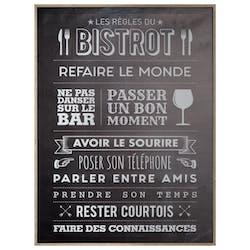 """Toile imprimée """"les règles du bistrot"""" 78 cm"""