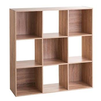 Etagère en bois naturel 9 casiers 100 cm