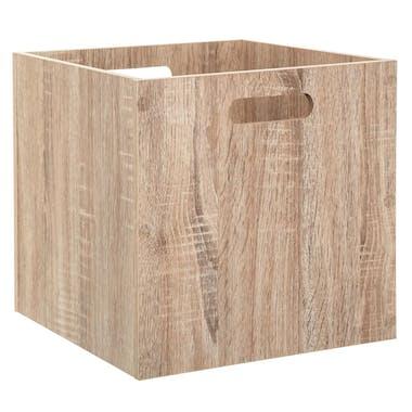 Boite de rangement en bois naturel 31 cm