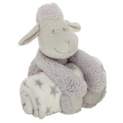 Peluche mouton gris avec plaid