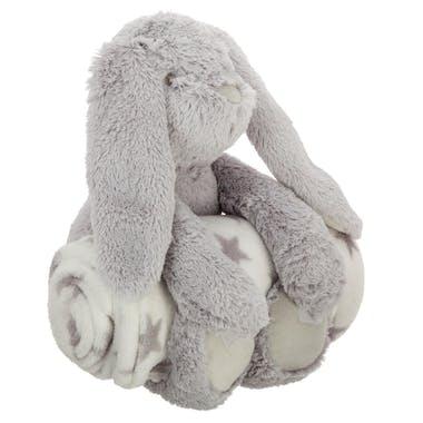Peluche lapin gris avec plaid