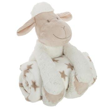 Peluche mouton blanc avec plaid