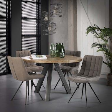 Table à manger ronde 120cm bois naturel LUCKNOW