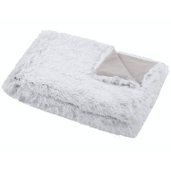 Plaid fausse fourrure gris blanc