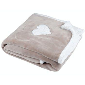Plaid doux gris clair cœur écru 130 x 160 cm