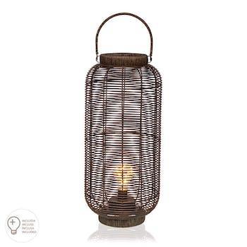 Lanterne verticale avec led couleur havane