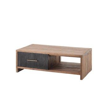 Table basse en teck 2 tiroirs poignées tube métal KANPUR