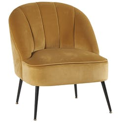 Fauteuil en velours moutarde dossier rond MALMOE