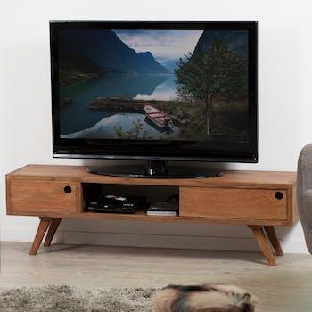 Meuble TV moderne bois exotique FANNY