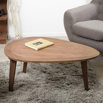 Table basse galet bois exotique FANNY