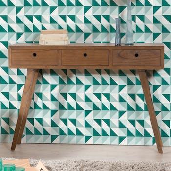 Console vintage bois couleur cannelle 3 tiroirs 115X30X81cm FANNY