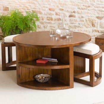Table basse ronde 2 tabourets avec coussins D90cm LOLA