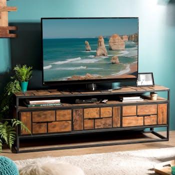 Meuble tv avec rangement teck recyclé damier SWING