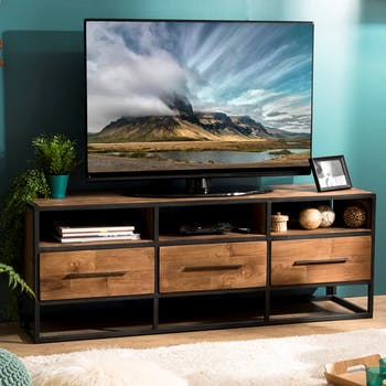 Meuble tv industriel bois recyclé 3 tiroirs SWING