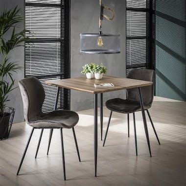 Table à manger carrée effet chêne brun 80 HELSINKI
