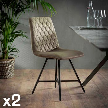 Chaise en velours sable motif losange MELBOURNE (lot de 2)