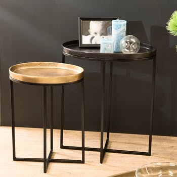 Table d'appoint ovale noir et or (lot de 2) ZALA