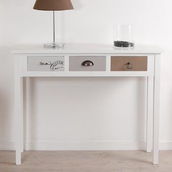 Console blanche tiroirs patchwork MILO