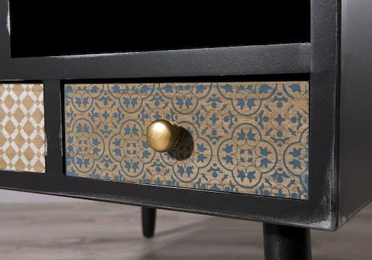 Table basse carrée avec tiroirs patchwork LEONARD