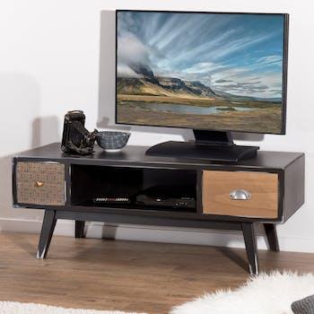 Meuble tv 2 tiroirs patchwork 103 cm LEONARD