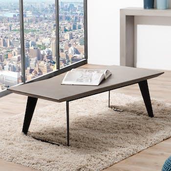 Table basse plateau Béton gris foncé et pieds métal noir 130x60x42cm NEAL