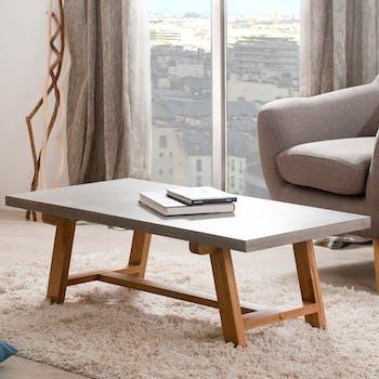 Table basse rectangle chêne et béton 120x60 FERRER