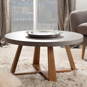 Table basse ronde chêne et béton D91 FERRER
