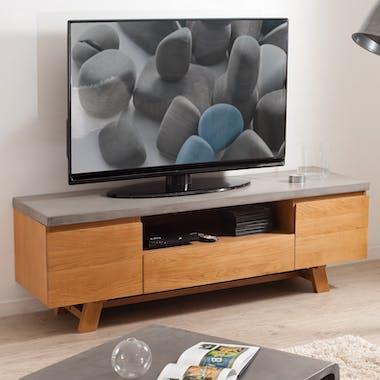 Meuble TV chêne et béton 2 portes 1 tiroir 150x45 FERRER