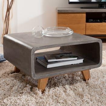 Bout de canapé double plateau béton et chêne 60x60 FERRER