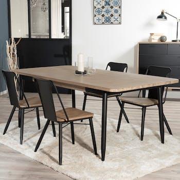 Table de Repas en Acacia massif couleur naturelle et pieds métal 200x100x77cm PALMEIRA