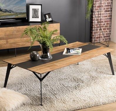 Table basse industrielle bois recyclé PANAMA
