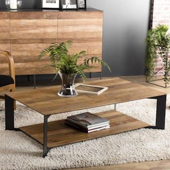 Table basse double plateau teck recyclé PANAMA