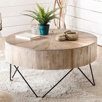 Grande table basse teck forme ronde D90 Jaipur
