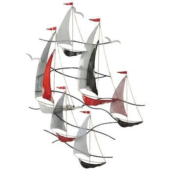 Décoration murale régate de 6 voiliers drapeaux mats