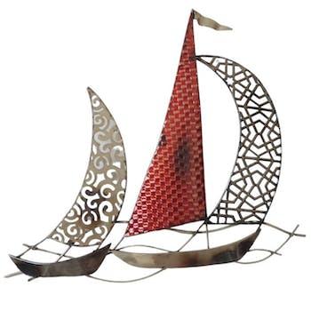 Décoration murale régate de 2 voiliers voile découpée