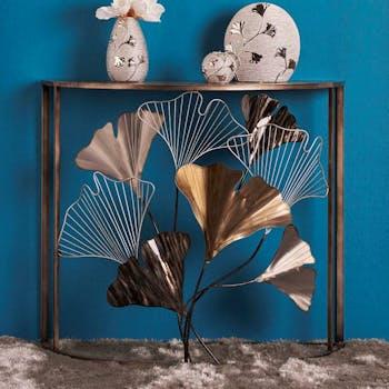 Console demie-lune décor feuilles de ginkgo découpé