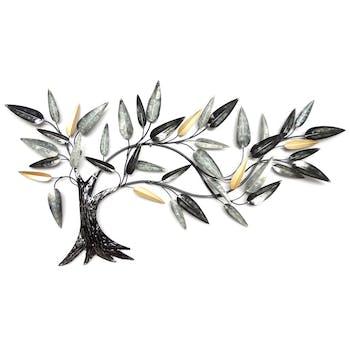 Décoration murale arbre stylisé gris argenté