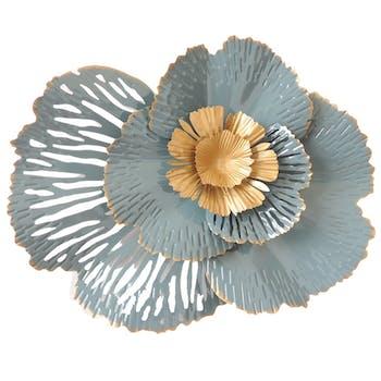Décoration murale fleur découpée bleu doré