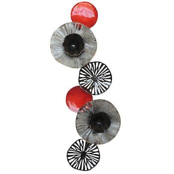 Décoration murale disques découpés rouge noir argenté